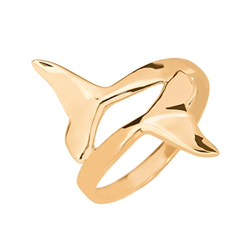 Double Dolphin Whale Tail Wrap Ring in Fine 14k Yellow Gold (Size 7) 14k Yellow Gold Whale