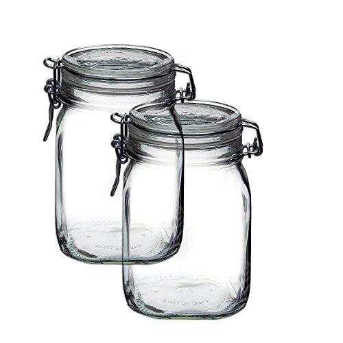Bormioli Rocco Set OF 2 Fido Clear Jar, - Jars Quart 1