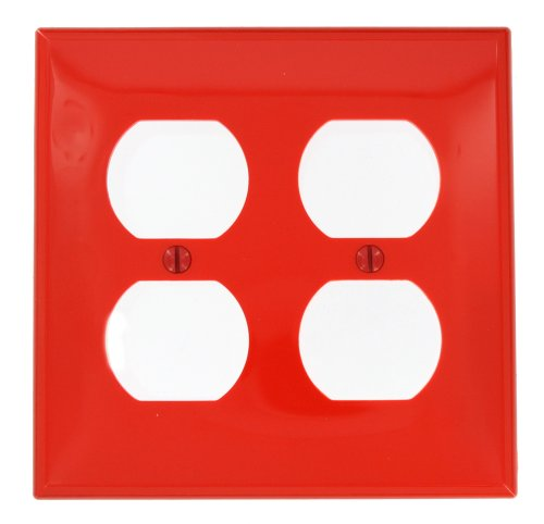 Power 2 Leviton Outlet Gang (Leviton 80716-R 2-Gang Duplex Device Receptacle Wallplate, Red)