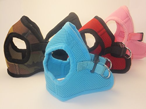 Snazzi Pet Soft Mesh Comfy Step in Dog Vest Harness for Teacups, Toys, Minis, Small Dog Breeds 2-16 lbs, Baby Pink, Sky Blue, Black, Red, X-Small, Small, Medium, Large, X-Large (Sky Blue, Small)