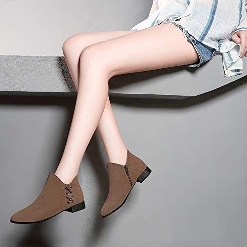 otoño Zapatos Flat Martin el Bottomed black Invierno Cortos Cremalleras AJUNR Sexy Martin Flat y Laterales de Bottomed Botas Transpirable el Zapatos Pantalones Botas Gamuza TWqwnA