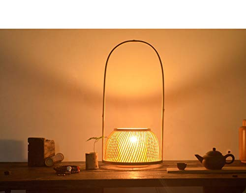 Arturesthome Japanese Handicraft Desk Lamp, Bamboo Artistic Table Lights, Country Rustic Beside Decor Lighting