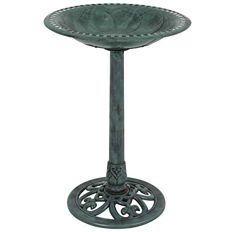 Garden Outdoor Pedestal Bird Bath Feeder Standing Patio Decor Antique Green US