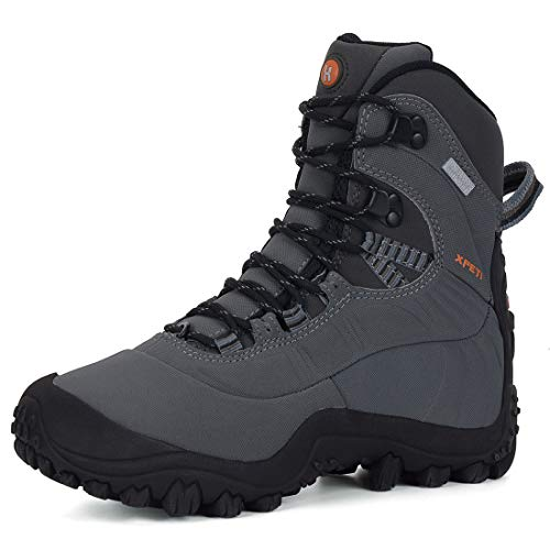 (XPETI Men's Thermador Mid-Rise Waterproof Winter Insulated Anti-Slip Trail Hiking Trekking Walking Outdoor Mountain Boots Light Grey 9.5)