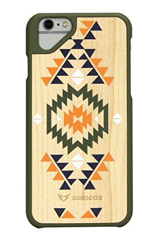 Raidfox iPhone 6 Plus/6s Plus Natural Wood Hard Case - Eco-friendly FSC Forest Handmade Natural Wooden Cover - Hybrid Heavy Duty Woodback Protector Faceplate Nature Bond (Sioux (Wood Phone Faceplates)