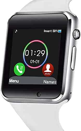 321OU Smart Watch Touch Screen Bluetooth Smart Watch Smartwatch Phone Fitness Tracker SIM SD Card Slot Camera Pedometer Compatible iPhone iOS Samsung LG Android Men Women Kids (White)