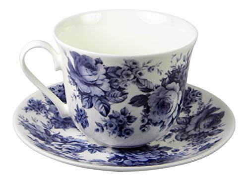 Roy Kirkham Blue Victorian Rose Chintz Jumbo Breakfast Teacup and Saucer Set Fine Bone China
