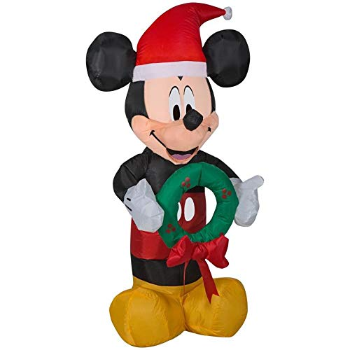 Disney 3.5 Inflatable Mickey Mouse in Santa Hat Holding Wreath -