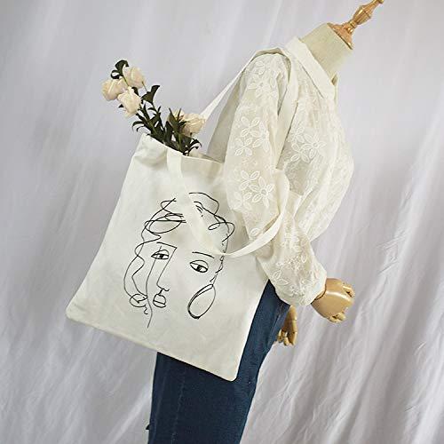 À Ligne Livres École Main Figure Sacs Toile Shanzwh Femmes Visage Fourre Bâton Shopping Grand Sac Bandoulière tout fWCxqx4PZX