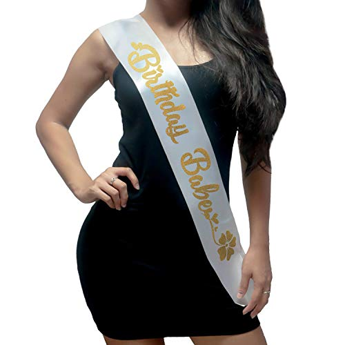 Birthday Sash - Fashionable White Satin Birthday Babe with Gold Lettering - 15th, 16th, 17th, 18th, 21st, 22nd, 25th, 30th Birthday Party - Happy Birthday Sash: Best Birthday Ideas for Girl, Women ()