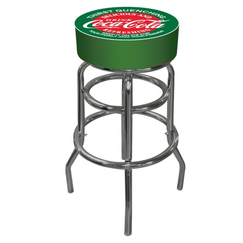 Coca-Cola Red and Green Padded Swivel Bar Stool (Stools Bar Trademark)