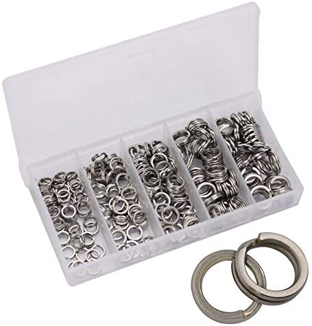 `50stk Stainless Steel Fishing Double Split Ring Oval Loop Connector-New