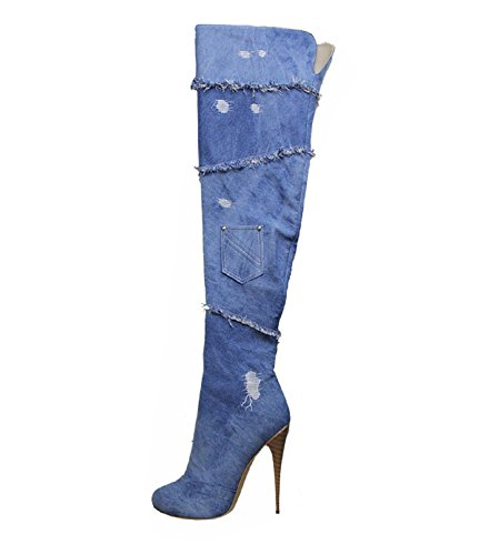 Patchwork Heels Boots Denim Shoes Stilettos Blue Blue Boots Emiki High Zipper High Women's Big Jeans Size Shoes Party Sexy HT6WvqE