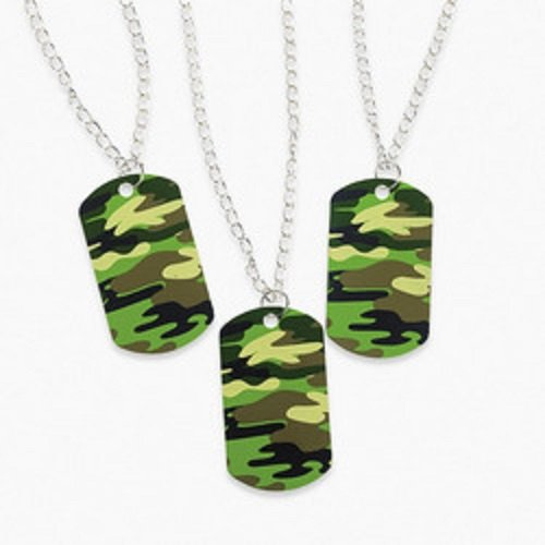 Lot of 12 Metal Camouflage Dog Tag Necklaces Army Party Favo
