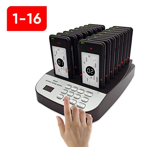NOLAS Corum Restaurant Call Coaster Pagers/Guest Waiting Pager/Wireless Paging System with Charging Dock and Transmitter (Available in 10/16/24/32/48/64/80/96 Units) (1-24) (1-16)