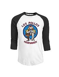 Fashion Mens Top Breaking Bad Los Pollos Hermanos Apron 3/4 Sleeve Raglan Tee Shirts