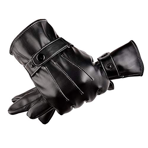- Vertily Men Warm Black Leather Three Ribs Gloves Winter Outdoor Motorcycle Mittens