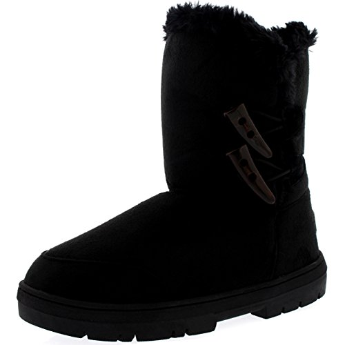Womens Twin Toggle Classic Short Fur Waterproof Winter Rain Snow Boots - Black - 8 - 39 - AEA0197
