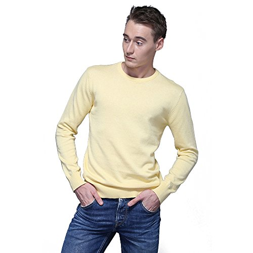 FASHIONMIA Mens Casual Solid Slim Fit Sweater Pullover Yellow M by FASHIONMIA (Image #1)