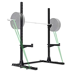 Mikolo Multi-Function Barbell Rack, 800LBS Capacity Adjustable Squat Rack Stand with Resistance Band Attachment Points for Weight Lifting, Bench Press, Squat, Fitness Home Gym Equipment