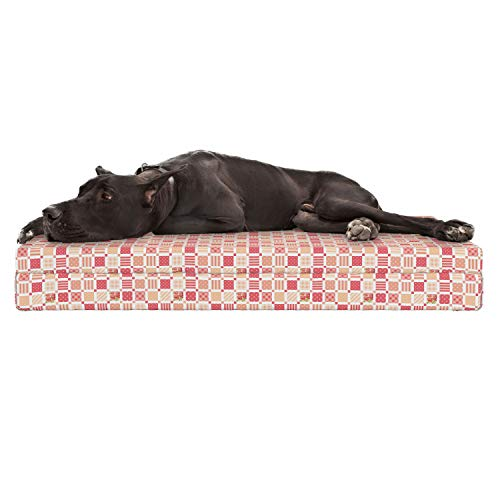 Lunarable Dusty Rose Dog Bed, Patchwork Inspired with Different Patterned Squares Shabby Chic Style, Durable Washable Mat with Decorative Fabric Cover, 48
