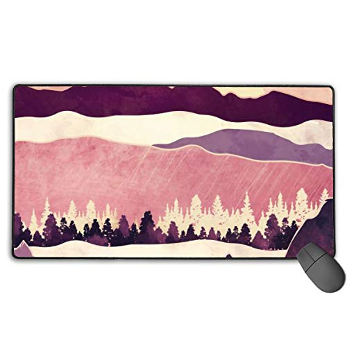 LNUO-2 Large Gaming Mouse Pad/Mat, Burgundy Hills Custom Mouse Pads with Non-Slip Rubber Base for Keyboard PC, Durable Stitched Edges