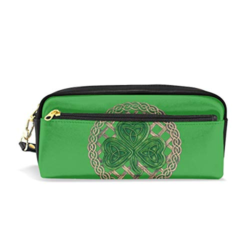 ALLDET-PU Shamrock Lattice and Celtic Knots On Black Novelty Colored Cosmetic Bag Zipper for Travel Storage Makeup Bags ()