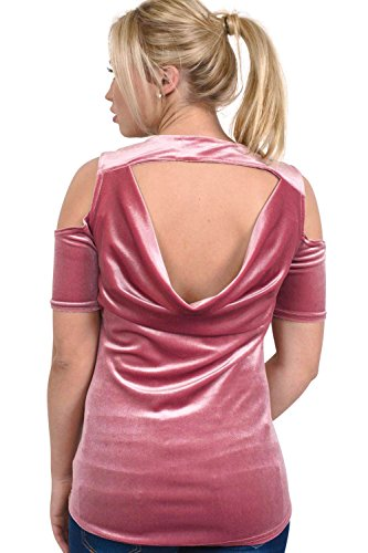 PILOT® terciopelo transversal frontal del hombro frío de alta bajo top Rosa