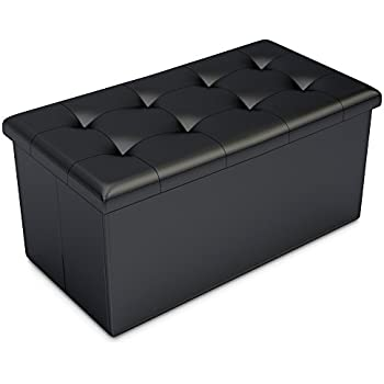 Amazon Com Black Faux Leather Ottoman Storage Bench