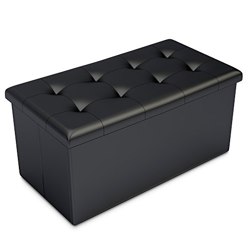 Black Faux Leather Ottoman Storage Bench -Great as a Double Seat or a Footstool, Coffee Table, Kids Toy Chest Trunk, Pouffe Living Room Furniture – Space Saving Organizer Solution