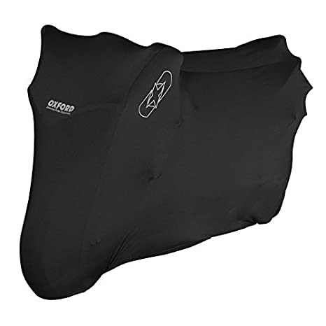 OXFORD PROTEX PREMIUM STRETCH FIT INDOOR MOTORCYCLE COVER BLACK LARGE WITH FREE CARGO NET
