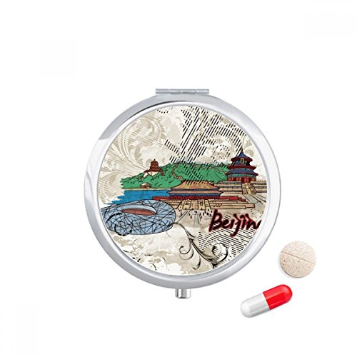 Tian An Men Bird Nest Beijing China Travel Pocket Pill case Medicine Drug Storage Box Dispenser Mirror Gift (Bird Beijing Nest)