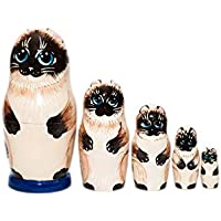 Cats Nesting dolls for kids, Siamese cat Nesting dolls, handmade wooden nesting dolls, Developing skills toy, kids room decor, Blue eyes siamese gifts