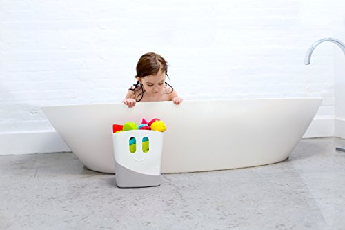 41wVzkoQ1GL - Ubbi Freestanding Bath Toy Organizer Bath Caddy with Removable Drying Rack Bin and Scoop for Bath Toys for Toddlers + Baby - Gray