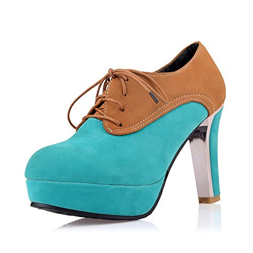 Vouge001 Womans Closed Toe Round Toe High Heel Suede Frosted Assorted Colors Pumps with Bandage Skyblue