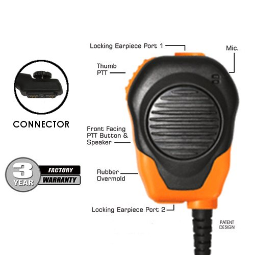 Klein Valor Orange Shoulder Speaker Mic for HYT Hytera PD702 PD782 PD982 Harris/M/A Com/Tyco Radios Walkie Talkies (See Description for Two-Way Compatibility List) by Klein Electronics