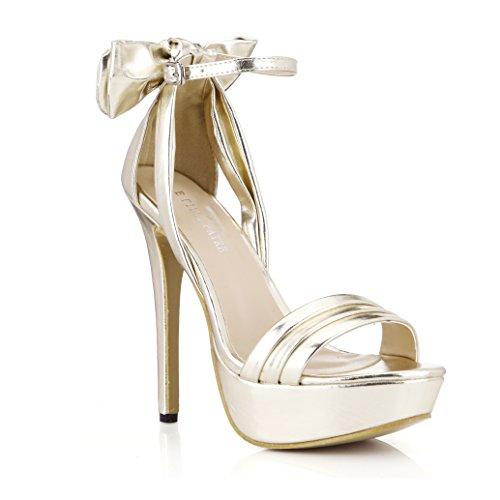 DolphinGirl Women Platform Black Bowtie High Heel Sandals Ladies Pumps Shoes Prime Golden 8DlRz
