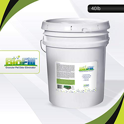 BioFill Artificial Grass Turf Granular Infill Deodorizer and Eliminator - All Natural, Long Lasting Pet Dog Urine Odor Deodorizer to Filter and Neutralize Odor in Turf Surfaces - 40 lb Pail White