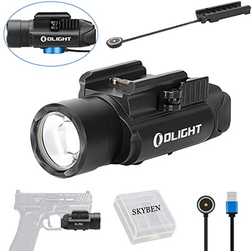 - Olight PL-PRO Valkyrie 1500 Lumens Cree XHP 35 HI NW LED Magnetic Rechargeable Weaponlight with Magnetic Remote Pressure Switch,Built-in Battery and SKYBEN Battery Case (Black)