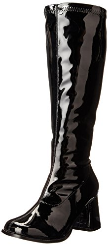 [Pleaser Women's Gogo-300X/B Boot,Black Stripe Patent,8 W US] (Black Platform Gogo Boots)