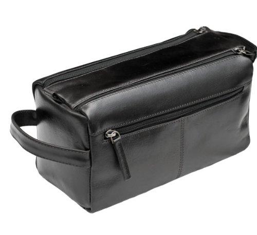 Image Unavailable. Image not available for. Colour  Prime Hide Men s Black Leather  Wash Bag add55c30aba4e