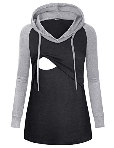 Quinee Pregnancy Shirts, Women Raglan Sleeve Maternity Nursing Tunic Tops for Breastfeeding Layered Drawcord Hood Comfortable Contrast Color Trendy Pullover Sweatshirts Charcoal Black - Drawcord Hood