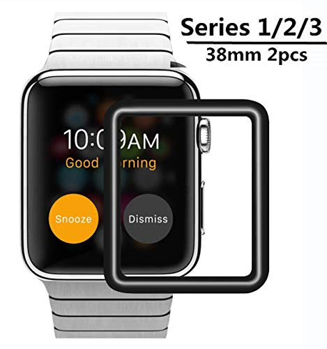 Apple Watch 38mm Screen Protector [2 Pack], Full Coverage Tempered Glass [9H Hardness] [Anti-Scratches] [Anti-Fingerprint] Tempered Glass Screen Protector Compatible with iWatch Series 1/2/3 38MM