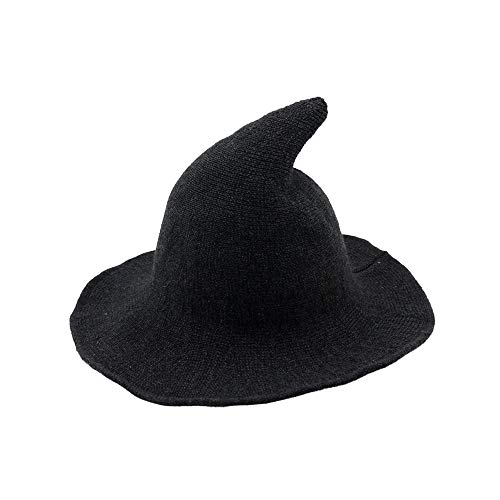 (Fekey&JF Women's Witch Kinitted-Wool Hats,for Halloween Party Masquerade Cosplay Costume Accessory and Daily Dark Grey)