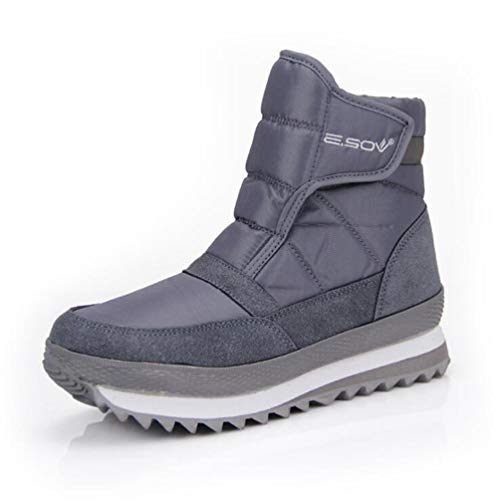 DETAWIN Women Waterproof Ankle Snow Boots Flat Non-Slip Winter Fur Lined Hook and Loop Round Toe Outdoor Boot