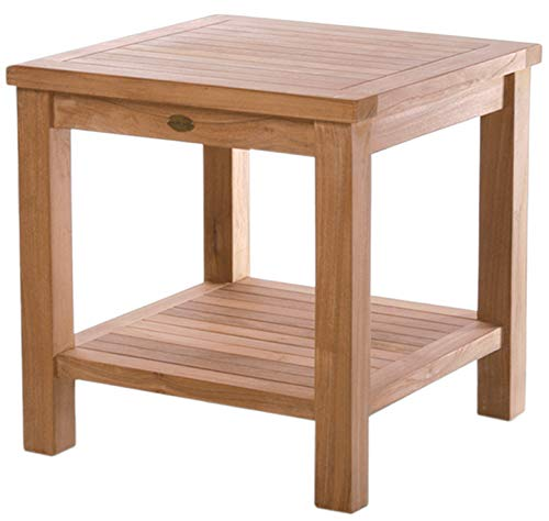 (Teak Tundra Outdoor Side Table with Shelf Made by Chic Teak from A-Grade Teak Wood)
