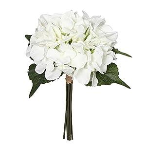 "Charmly Artificial Silk Hydrangea Flowers 6 Heads Bouquet Wedding Home Decoration Approx 7"" in Diameter Hydrangea-White 12"