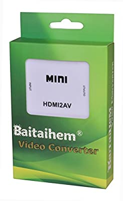 Baitaihem 1080P HDMI to AV Composite RCA CVBS Video + Audio Signal Converter For TV PS3 PS4 VHS VCR DVD White