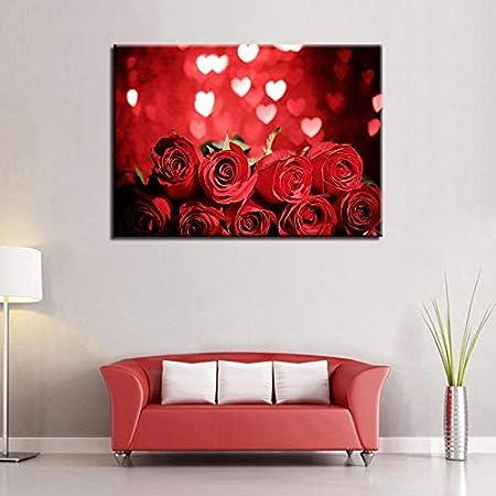 XCSMWJA Arte De La Pared Cuadros De Lienzo para Sala De Estar 1 Unidades Rosas Rojas Flor Cartel Corazón Luz De Las Estrellas Pintura Decoración para El Hogar 40 * 60Cm