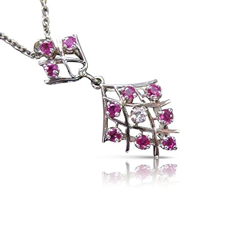 Milano Jewelers .24CTW RUBY & DIAMOND 14KT WHITE GOLD CLUSTER OPEN WORK DROP PENDANT #XXX 14kt Gold Cluster Drop Necklace